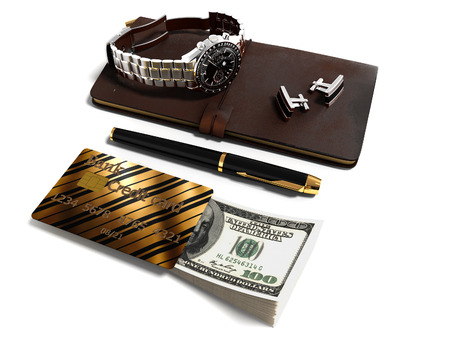 Business set for businessman notepad pen cufflinks wristwatch credit card money 3d render on white background with shadow