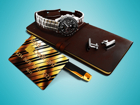 Business set notepad cufflinks wristwatches ballpoint pen credit card 3d render on blue background with shadow Stockfoto