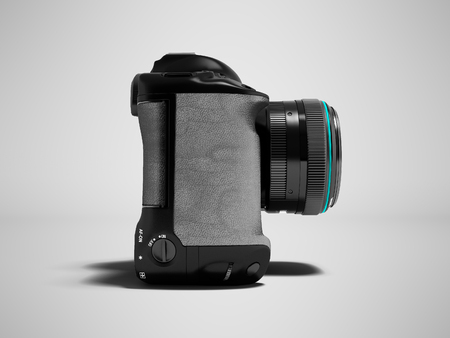 Modern camera black with leather inserts left view 3d render on gray background with shadow Banco de Imagens