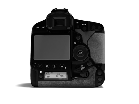 Professional black camera with leather inserts rear view 3d render on white background with shadow Banco de Imagens