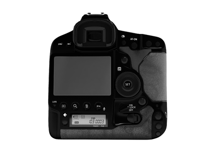 Professional black camera with leather inserts rear view 3d render on white background no shadow