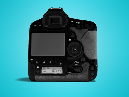 Professional black camera with leather inserts rear view 3d render on blue background with shadow