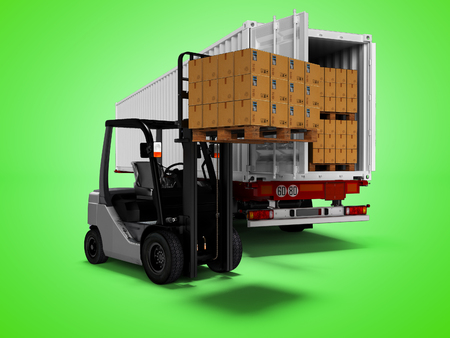 Modern loading of goods on pallets with forklift in white trailer 3d render on green background with shadow