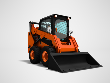 Modern orange mini loader with bucket in front 3d render on gray background with shadow
