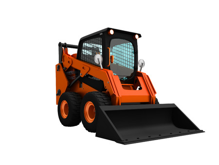 Modern orange mini loader with bucket in front 3d render on white background no shadow