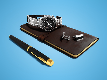 Modern business set notepad diary ballpoint pen wristwatches and cufflinks on shirt 3d render on blue background with shadow