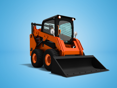 Modern orange mini loader with bucket in front 3d render on blue background with shadow