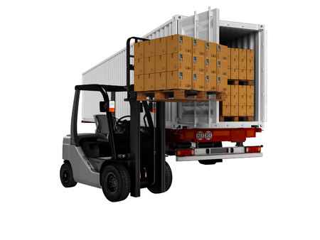 Modern loading of goods on pallets with forklift in white trailer 3d render on white background no shadow