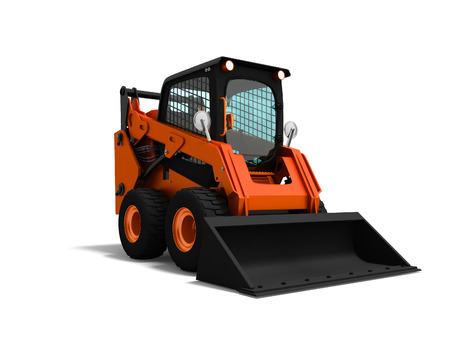 Modern orange mini loader with bucket in front 3d render on white background with shadow
