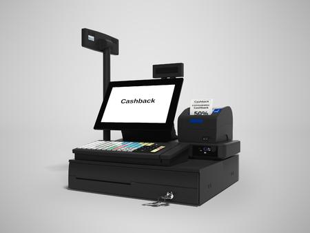 Caisse enregistreuse avec service de remboursement en rendu 3d à 50 % sur fond gris avec ombre