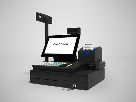 Cash register with cashback service in 50 percent 3d render on gray background with shadow 免版税图像