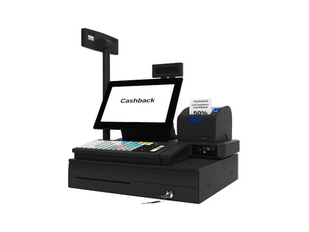 Cash register with cashback service in 50 percent 3d render on white background no shadow Standard-Bild