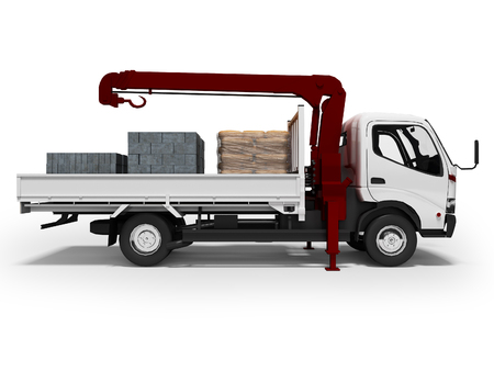 Transportation of building material white flatbed truck with crane 3d render on white background with shadow