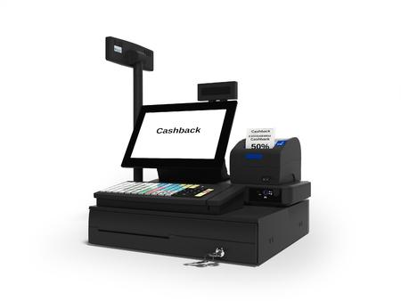 Caisse enregistreuse avec service de remboursement en rendu 3d à 50 % sur fond blanc avec ombre Banque d'images