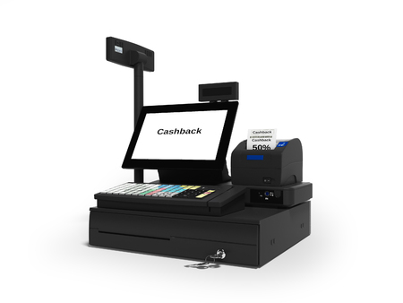 Cash register with cashback service in 50 percent 3d render on white background with shadow 免版税图像 - 114300123