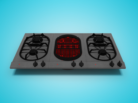 Gas plate built with electrospiral for frying 3d render on blue background with shadow