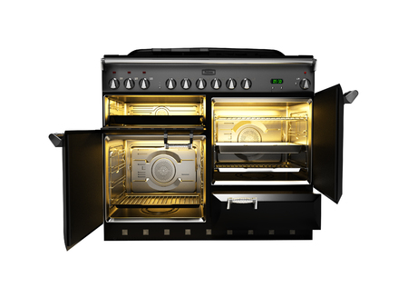 Gas stove included with open doors of electric oven front view 3d render on white background no shadow