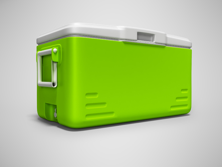 Green portable refrigerator for drinks isolated 3D render on gray background with shadow 写真素材