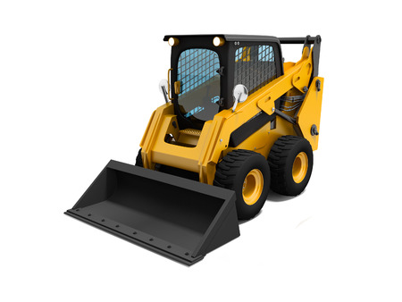 Yellow mini loader with small bucket 3d render on white background with shadow