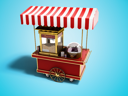 Red portable popcorn store perspective view 3d render on blue background with shadow Reklamní fotografie