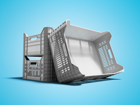 Gray plastic box for the transport of goods vegetables or fruits 3d render on blue background with shadow Stock Photo