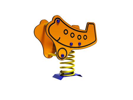 Orange carousel plane on spring for children 3d render on white background no shadow