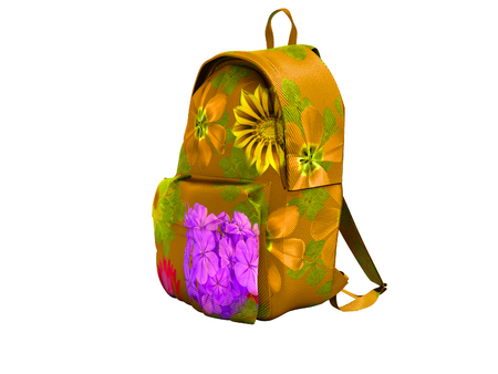 Yellow school backpack with flowers front view 3d render on white background no shadow Stok Fotoğraf