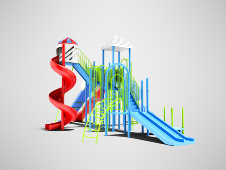 Color playground for kids with different slides isolated 3d render on gray background with shadow Banco de Imagens