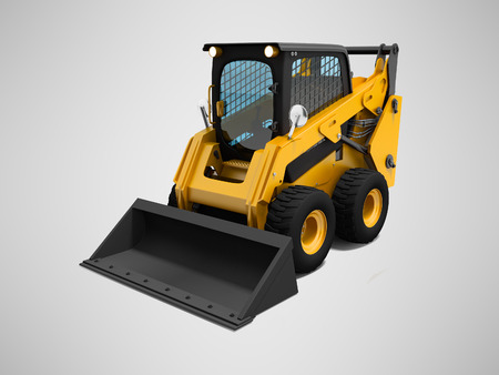 Yellow mini loader with small bucket 3d render on gray background with shadow