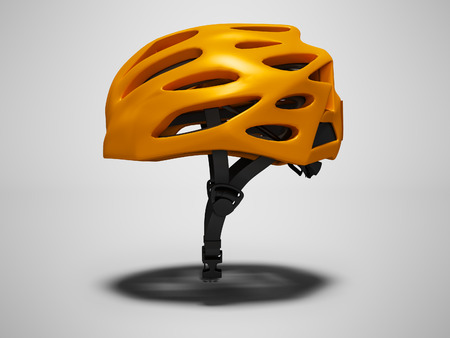 Orange bicycle helmet left view 3d render on gray background with shadow Stock Photo