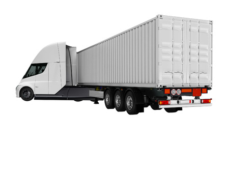 White electric tractor with trailer for traveling long distances rear view 3d render on white background no shadow Stock Photo
