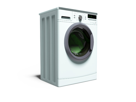 Blue washing machine for washing clothes for the family 3d render on white background with shadow Stock Photo