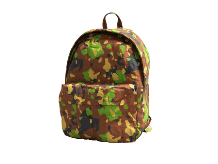 School backpack military colors front view 3d render on white background no shadow Stock Photo