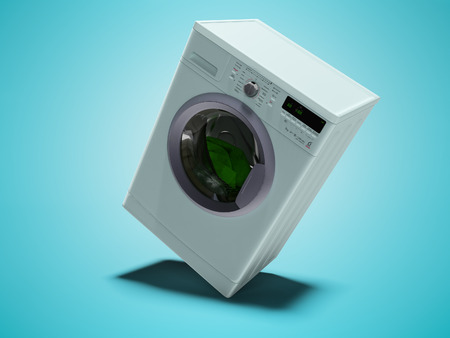 Blue washing machine is washing clothes 3d render on blue background with shadow