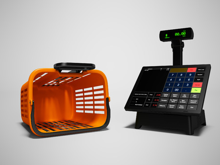 Panier en plastique orange vide et caisse enregistreuse pour peser et vendre le rendu 3d sur fond gris avec ombre