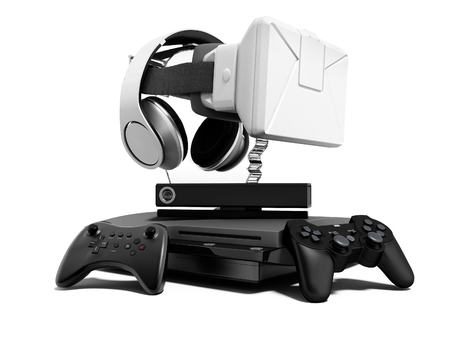 Seth game consoles with joysticks for doubles with virtual reality glasses 3d render on white background with shadow Stok Fotoğraf - 116372055
