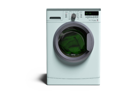 Blue washing machine with clothes washing clothes 3d render on white background with shadow Stockfoto