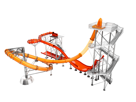 Concept big water slide for water park or beach entertainment 3d render on white background no shadow