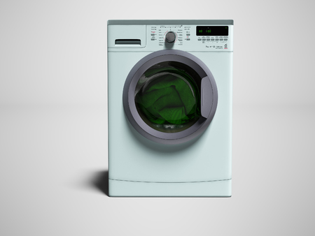 Blue washing machine with clothes washing clothes 3d render on gray background with shadow