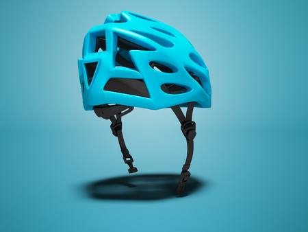Cycling blue helmet for cyclist 3d render on blue background with shadow