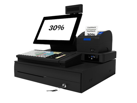 Gray cash register with cashback technology 30 percent for supermarket 3d render on white background no shadow