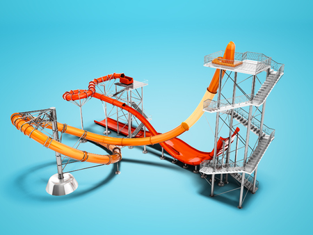Concept big water slide for water park or beach entertainment 3d render on blue background with shadow