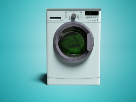 Blue washing machine with clothes washing clothes 3d render on blue background with shadow