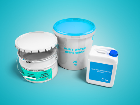 Set for working with paint in the repair of the interior walls 3d render on blue background with shadow Standard-Bild - 116372513