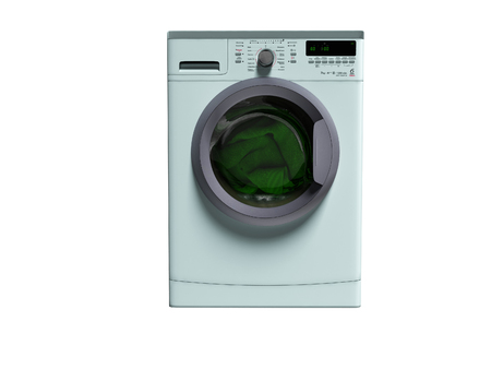 Blue washing machine with clothes washing clothes 3d render on white background no shadow