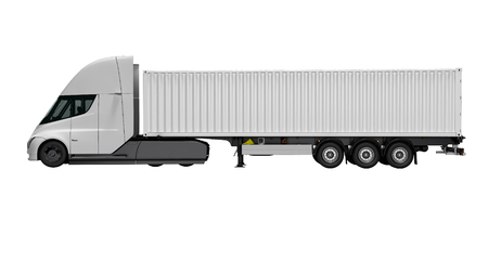 New white electric tractor with trailer left view 3d render on white background no shadow