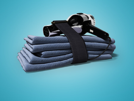 Set of blue soft towels and professional hair dryer 3d render on blue background with shadow