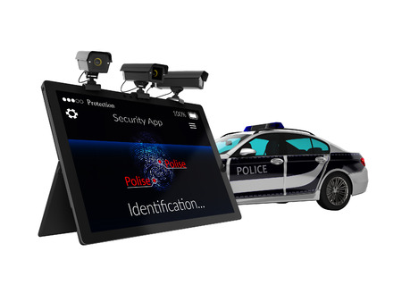 Police call concept via mobile render 3d render on white background no shadow 版權商用圖片