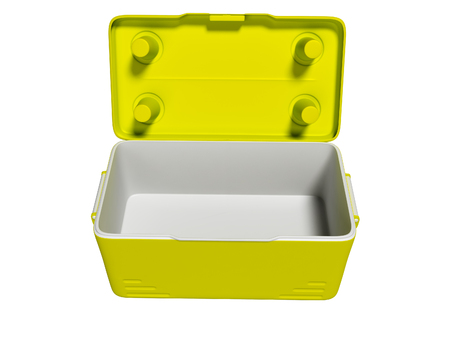 Yellow open portable refrigerator for drinks on the beach 3d render on white background no shadow 写真素材