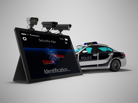 Police call concept via mobile render 3d render on gray background with shadow 版權商用圖片
